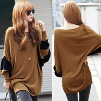 Wholesale Korean Style Fashion Slouchy Women t shirt Contrast Batwing Sleeve tshirt Long Loose Blouse Pullover Roupas Femininas Brown G0850BR