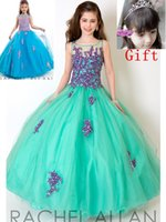 Wholesale New Style Rachel Allan Ball Gowns Girls Pageant Dresses New Arrival little Kids Outstanding Tulle and Lace Covered Flower With Gift