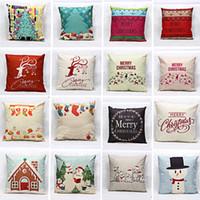 animal hospital supplies - Christmas Cartoon Animal Elk Sock Tree Snow Patterns Pillow Case Cover Linen Cotton Square Pillowcase Home Bedroom Supplies