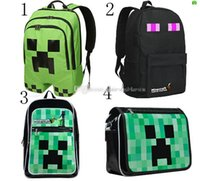 Wholesale 4 Styles Minecraft Backpack Game My World PVC Waterproof Shoulder Children School Bags Boys Mochila Double Shoulder Bag