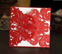 buckles - Whloesale Red Wedding Invitations Laser Cut Customizable Hollow Crystal Lace Bow Ribbon Wedding Invitation Cards Supplies Printable Cards