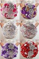 Wholesale Lucury Wedding Bouquets Silk Roses with Deluxe Rhinestones Flower Bridal Bouquet bridesmaids Handmade Crystal Pearls Silk Bridal Flowers