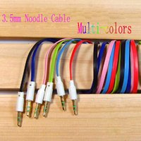 Wholesale 1 Colorful mm Male M M Flat Stereo Audio Jack AUX Cable Cord for PC iPhone For iPod for MP3