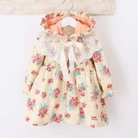Cheap Spring 2014 fashion floral kids baby girls manteau cute children's princess trench coat on sale free shipping pink 2-7 years