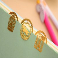 Wholesale Lovely Gold Metal Bookmark Fashion Birdcage Crown Cat Clips for Books Paper Creative Products Stationery