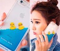 duck swim - Waterfall Aqua Tank Case Float Swimming Rubber Duck PC Cover For iphone s plus Fashion Transparent Dynamic Fluid Liquid Case