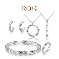 aqua bamboo - FG ROXI New Fashion New Arrival Summer Women Hot Sale Platinum Plated Bamboo Earring Necklace Bracelet Ring