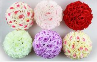 Wholesale centerpieces for weddings Encryption Rose Silk Flower Kissing Balls Hanging Ball Christmas Ornaments Wedding Party Decorations