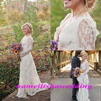 autumn kelly - 2016 Modest Boho Wedding Dresses with Full Lace Long Sleeves V Neck Backless Vintage Cheap Beach Country Bridal Gowns Spring Kelly Clarkson