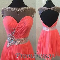 apple season - Cute Sequins Coral Tulle Open Back Short Prom Dress Custom Made A Line Chiffon Evening Dresses for Season Hot Selling