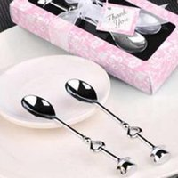 Wholesale 1 Pair Tableware set lovers Coffee spoon wedding celebration supplies creative fashion boutique high grade refined coffee spoon
