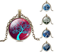 acrylic picture glass - Vintage Gemstone Life Tree Pendant Necklace Glass Cabochon Pendant Bronze Art Picture Chain Necklace Mysterious jewelry Gift