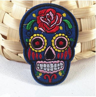 Wholesale 3 inch Flowered Skulls Skeleton psychedelic Head Embroidered Iron On Patches Made of Cloth Guaranteed Appliques sew on patch skull GPS