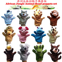 baby finger plays - 12pcs Set Cartoon Africa Animals Plush Hand Puppets baby play Kids Plush Toys Talking Props educational toys children