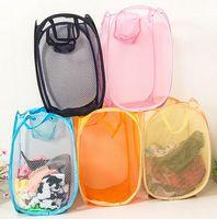 Wholesale Home daily dirty clothes basket nylon mesh portable folding storage basket Laundry basket