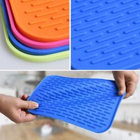 Wholesale Silicone Pad Kitchen Tool Coasters Insulation Bowl Saucepan Mat Colors Rectangle Soft Silicone Table Heat Pads JE0001 salebags