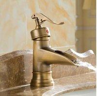 antique brass bathroom faucet - New Waterfall Antique Brass Bathroom Basin Faucet Vessel Sink Mixer Deck Mounted