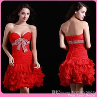 Reference Images short corset dresses for prom - 2015 Designer Red Homecoming Dresses Sheath Chiffon Short Prom Gowns Corset V neck Pleats Summer Graduation Party Dress For Girls Juniors