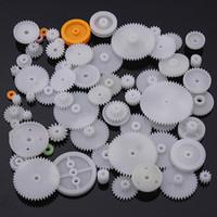 Wholesale 64pcs Type Plastic Shaft Single Double Reduction Crown Worm Gears DIY For Robot
