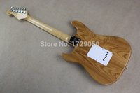 Wholesale Chinese instrument Custom shop ST Natural Wood color S S H Electric guitar RED Pickguard