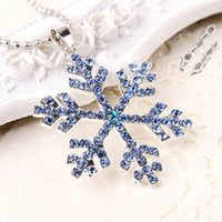 decoration jewelry colors - 3 colors Frozen Elsa Rhinestones Snowflake Pendant Necklace Crystal Cartoon Necklace For Children Kids Movie Jewelry for Sweaters decoration
