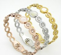 Charm Bracelets american connection - Fashion diamond encrusted bracelet Buckle ring alloy connection Gold and silver two colors and don t rub off rose gold
