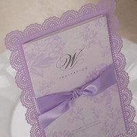embossed wedding invitations - Free Ship Cheap Purple DIY Wedding Invitations Ribbon Handmade Embossed Wedding Gift Lace Free Printable Cards Romatic Wedding Favors