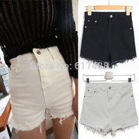 Cheap 2015 Summer Womens High Quality Black White Tassel Ripped High Waist Shorts Cotton Stretch Denim Short Jeans Shorts Female Women