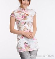 Wholesale The new ms summer wear tang suit coat short sleeve blouse peach blossom silk cheongsam