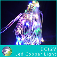 Wholesale sets Copper wire string lights single color RGB m Leds SMD0603 DC12V W waterproof for Christmas Decoration