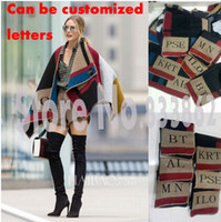Wholesale Can be customized lettering winter new wool and cashmere blankets B private home style cape shawl Olivia Palermo
