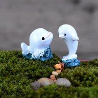 Wholesale Mini White Dolphin Shape Fish Tank Ornaments Garden Doll Landscape Decoration