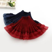 Wholesale 2016 New Girl Novelty Organza Splicing Knitted Skirts Ruffle Knitting Tutu Dress Girl Princess Wool Blends Skirt babies Christmas clothes
