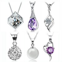 Steel - Hot Selling New Austria Crystal CZ Diamonds Women cm necklace Jewelry Fit Silver plated Necklace Pendant Colors styles