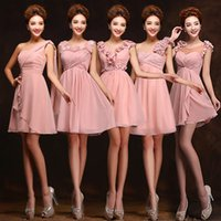 Wholesale Short Summer Beach Weddings Above The Knee Junior Bridesmaid Dress With Handmade Flowers Chiffon Bridesmaid Party Gowns From China LH