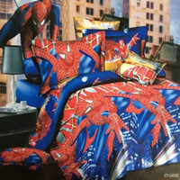 Wholesale new d amazing spiderman gift bedding set king queen twin size duvet cover flat sheet pillow case blue