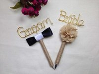 Wholesale Set of pens wrapped in Jute Twine Bride and Groom Guest Book Pen Set Rustic Wedding pen set Guest Book