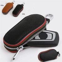 leather key ring - For BMW Car Key Wallet Holder Genuine Leather Key Bag Cover for Auto BMW Nissan Volvo Audi BENZ HONDA Toyota etc Keychain Ring Free DHL