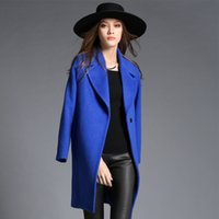 Long Sleeve atmosphere winter jackets - European and American high end atmosphere wool coat lapel autumn and winter long section of a buckle in good quality woolen jacket