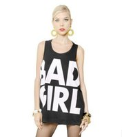 bad girl clothing - Brand new summer women sexy Punk Vintage tank tops BAD GIRL loose big black letters print printed female vest woman clothes