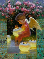 Wholesale 2015 NEW DIY D Diamond Painting Angel wings child Absorbed household decoration Mosaic Embroidery fabric Handicraft Canvas