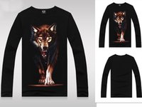 Wholesale Autumn outfit man han edition cotton round neck long sleeve T shirt Night Wolf men s clothing
