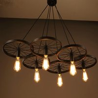 bicycle fixture - New Modern DIY Loft retro Iron Bicycle Wheels pendant lights ceiling lamp fixture E27 for coffee bar