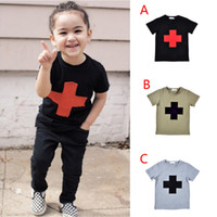 Wholesale Retail kikikids NUNUNU cross printed boys T shirts summer style kids clothes girls short sleeve t shirts children clothing HX
