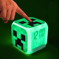 Wholesale Minecraft Alarm Clock Creeper Clock with LED Multifunction Night Light Electronic Alarm Clock Toys Retail Creative Christmas Gift RY1496