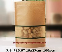 barrier stand - 2016 Fashion Sale quot quot _19x27cm Good Barrier Kraft Window Bags Standing Pouch With Zipper Pet Food Packaging