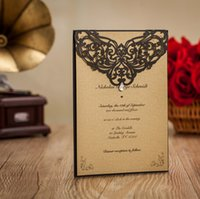 arabic wedding cards - Black Rhinestone Laser Cut Muslim Invitation Cards New Customized European Elegant Design Party Event Wedding Free Envelope Arabic