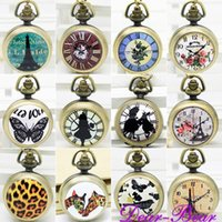Wholesale Vine Alice in Wonderland Rabbit Quartz Pocket Watch Necklace With mirror inside pc mix designs APW010 dandys