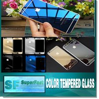 Wholesale For Iphone Mirror Effect Color Real Tempered Glass Protector Film Color Plating front and back Glass Film With Retail Package