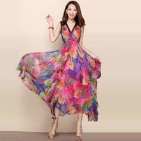 asymmetrical animals - Summer dress Women Dress Casual Party chiffon Dresses maxi plus size sleeveless bohemian print dress